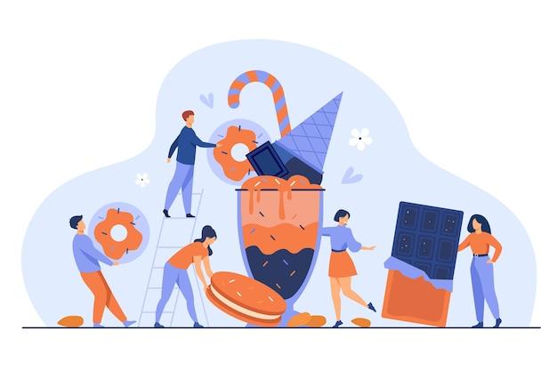 Gente diminuta sosteniendo y llevando barras de chocolate, galletas, donas, helados, batidos de leche. ilustración de vector de plato dulce, postre, pastelería, panadería, concepto de azúcar