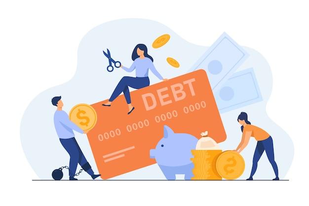 Gente diminuta en la trampa de la ilustración plana de la deuda de la tarjeta de crédito.