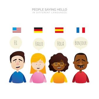 Gente de diseño plano con bocadillos de conversación en distintos idiomas