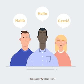 Gente de diseño plano con burbújas de conversación en distintos idiomas