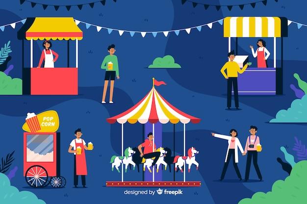 Gente de diseño plano en carnaval nocturno