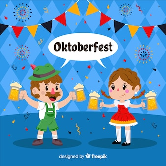Gente de diseño plano celebrando el oktoberfest