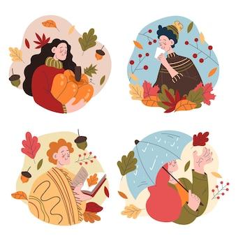 Gente de diseño plano en colección otoño