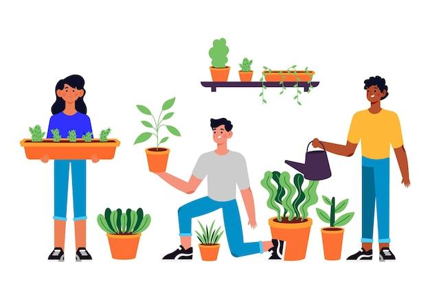 Gente de diseño plano cuidando plantas.
