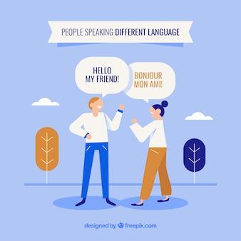 Gente con diseño plano hablando distintos idiomas