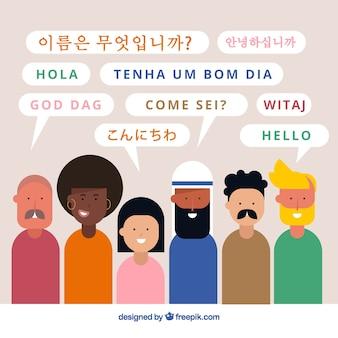 Gente de diseño plano hablando distintos idiomas