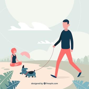 Gente de diseño plano haciendo actividades al aire libre