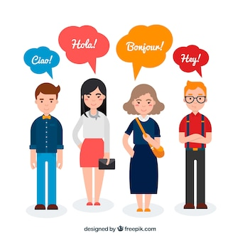 Gente de diseño plano con palabras en diferentes idiomas