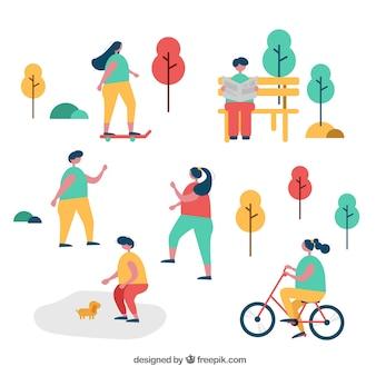 Gente de diseño plano realizando actividades de ocio al aire libre