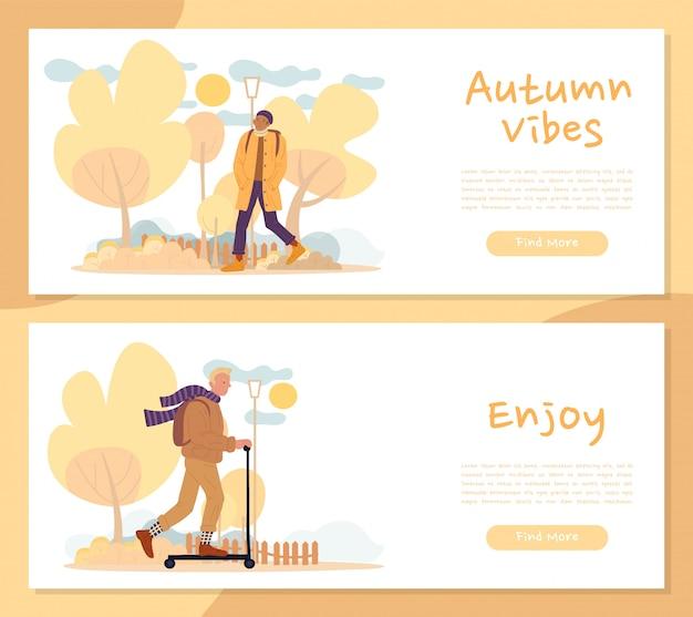 La gente disfruta de un acogedor conjunto de banner de encabezado de vibes de otoño