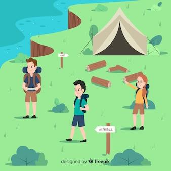 Gente disfrutando en un camping.