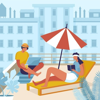 Gente disfrutando el concepto de vacaciones