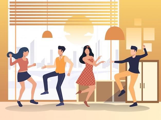 Gente disfrutando de fiesta en casa