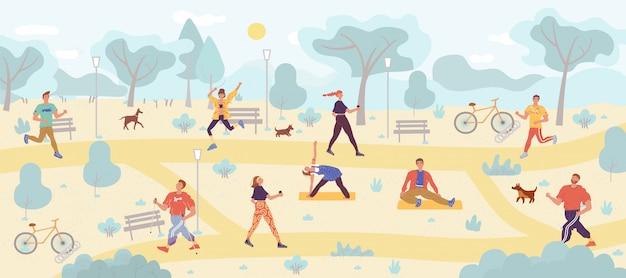 Gente disfrutando de gimnasio al aire libre en parque público