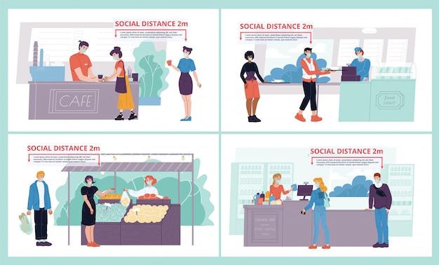 Gente distanciamiento social en la tienda, comer lugar establecido