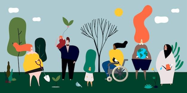 Gente diversa en la ilustración de la naturaleza