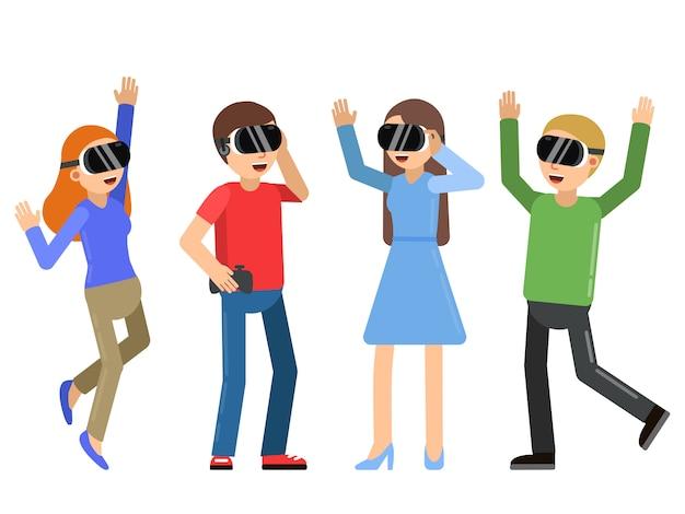 Gente divertida jugando en videojuegos en casco de realidad virtual.