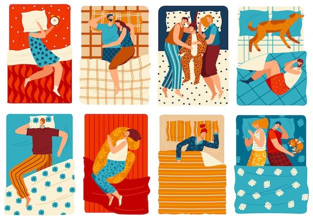 La gente duerme en la cama, conjunto de divertidos personajes de dibujos animados, hombres y mujeres dibujados a mano, ilustración