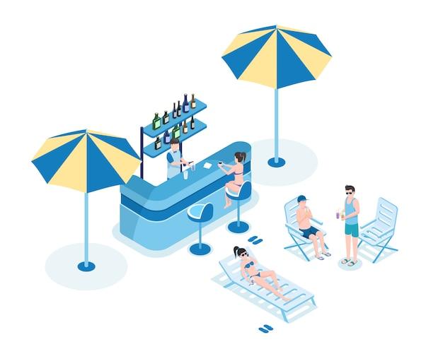 Gente en el ejemplo isométrico del vector de la barra de la piscina. barkeeper, mujeres en bikini y hombres en ropa de verano personaje de dibujos animados 3d
