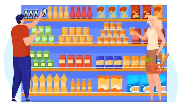 La gente elige productos cerca de los estantes con productos. ilustración vectorial