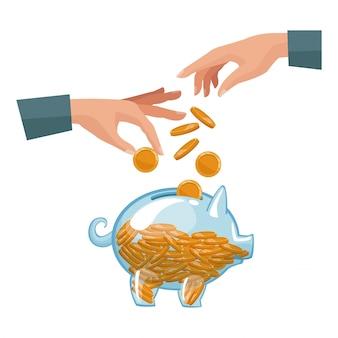 La gente empareja las manos que depositan monedas en una hucha del dinero