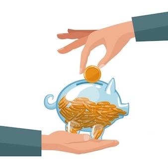 La gente entrega monedas en una hucha de dinero