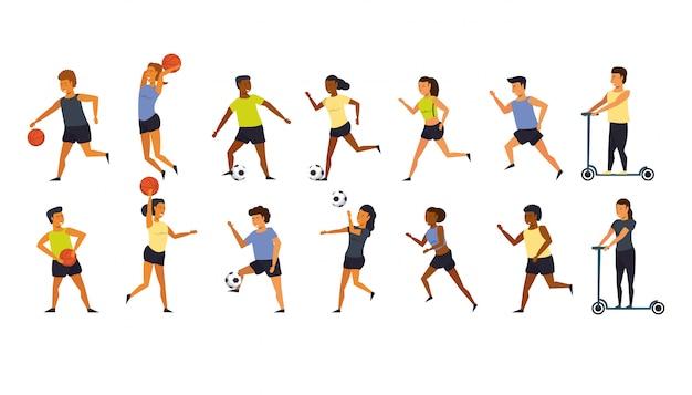 Gente entrenando deportes dibujos animados
