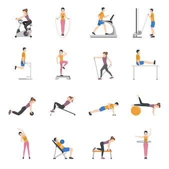 Gente entrenando en el gimnasio icons set