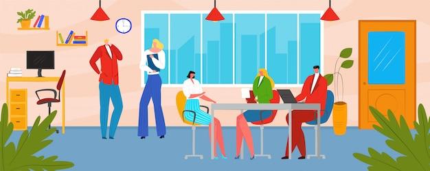 Gente de equipo de negocios de oficina, ilustración. reunión de trabajo en equipo creativo, concepto de trabajo de carácter hombre mujer. grupo de trabajo de coworking en el intercambio de ideas corporativo, comunicación.