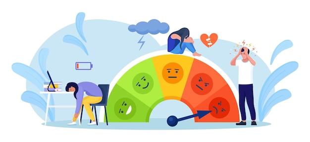 La gente está en la escala del estado de ánimo, la tasa de estrés. frustración y estrés, sobrecarga emocional, burnout, exceso de trabajo, diagnóstico de depresión