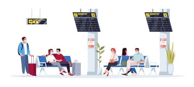 La gente espera la ilustración de vector de color rgb semi plano de vuelo. mujer sentada en el vestíbulo. hombre en la terminal del aeropuerto. los pasajeros del avión en máscaras médicas aislado personaje de dibujos animados sobre fondo blanco.