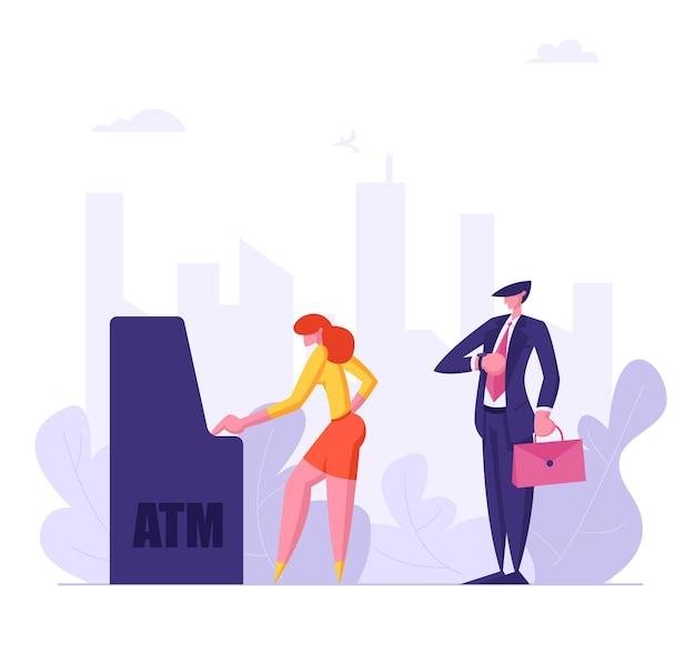 Gente esperando en cola cerca de la ilustración de cajero automático
