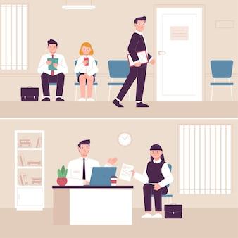 Gente esperando entrevista de trabajo ilustrada.