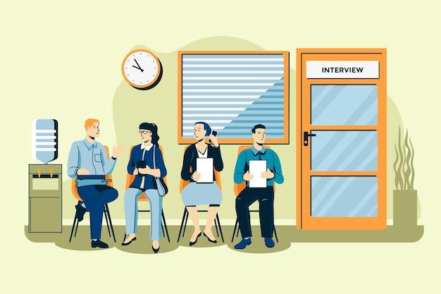 Gente esperando ilustración de entrevista de trabajo