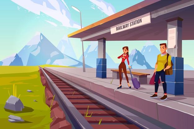 Gente esperando tren en la plataforma del ferrocarril, ferrocarril