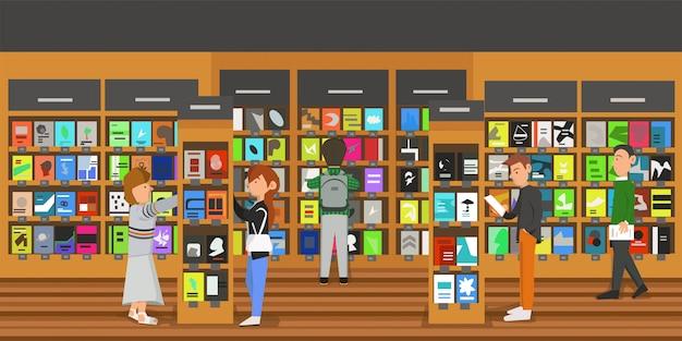 La gente estaba leyendo varios tipos de libros en una librería.