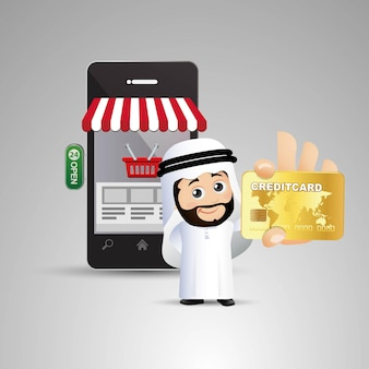 La gente establece empresarios árabes en línea de compras