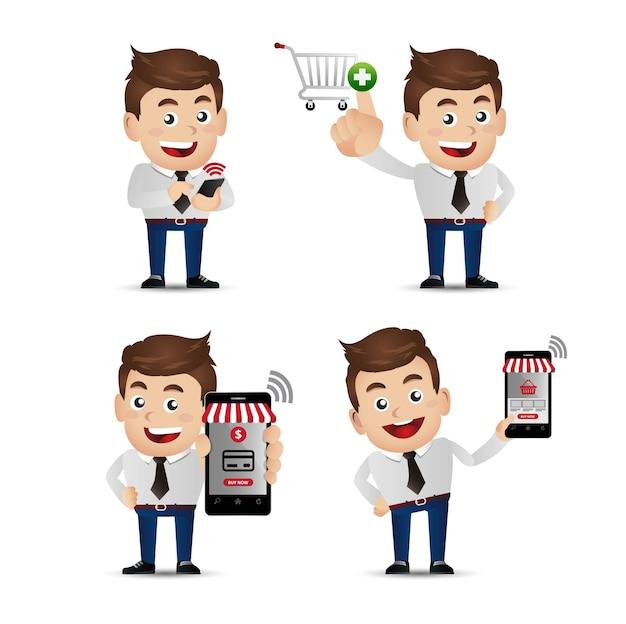 La gente establece pagos de mobil de compras e
