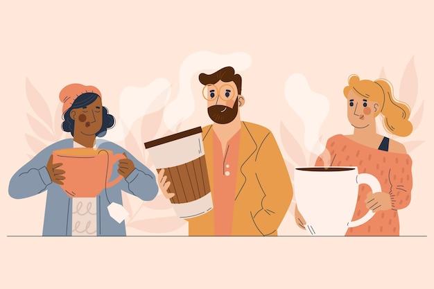 Gente de estilo dibujado a mano con bebidas calientes.
