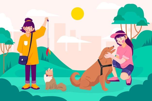 Gente de estilo dibujado a mano con mascotas.