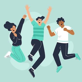 Gente de estilo dibujado a mano saltando