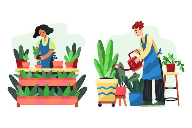 Gente de estilo de dibujos animados cuidando plantas.