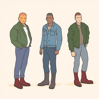 Gente con estilo skinhead género música vector