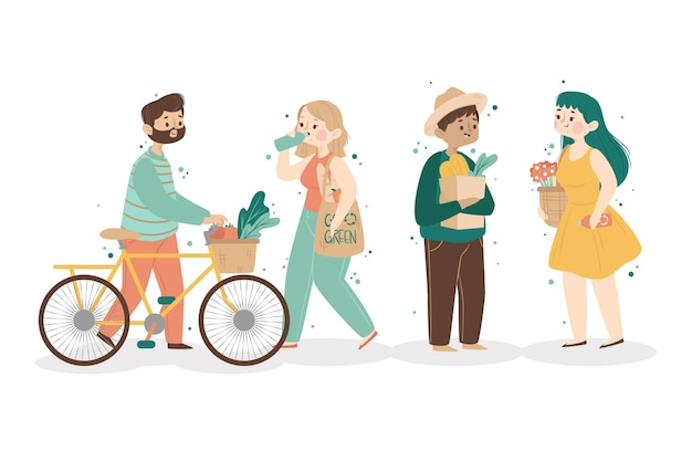 Gente de estilo de vida verde con bicicleta