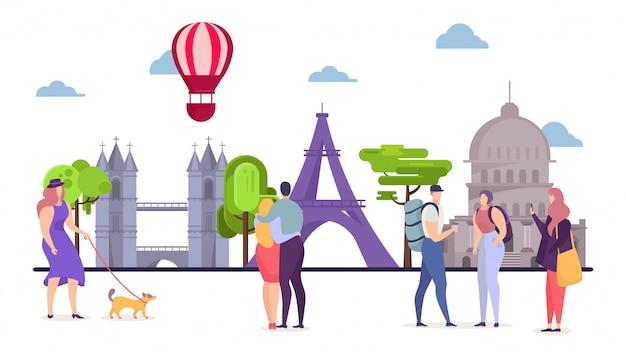 La gente en europa viaja, hombre mujer turismo ilustración. turista en viaje de vacaciones a pie, gira mundial en lugares de interés arquitectónico.