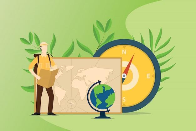 La gente explora y aventura el mundo con mapas de brújula.