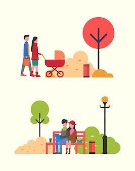 Gente de familia con cochecito, pareja trabajando en el parque