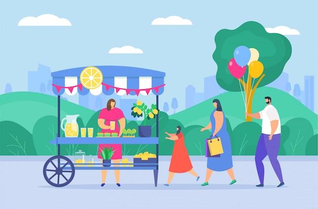 Gente de familia en el mercado de comida callejera en el parque de la ciudad, personajes de dibujos animados disfrutando de comida callejera en el festival al aire libre