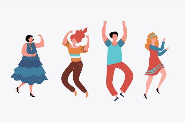 Gente feliz bailando set.