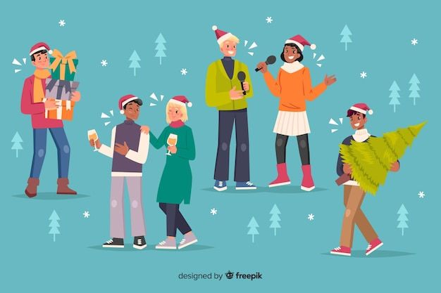 Gente feliz celebrando dibujos animados de navidad